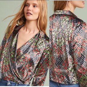 Anthropologie Attitwa Velvet Jacket / Wrap Top